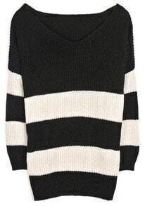 Black White Striped Batwing Long Sleeve Sweater