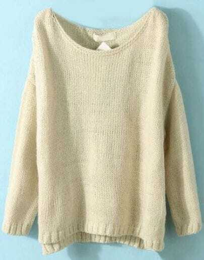 Beige Long Sleeve Split Loose Pullovers Sweater