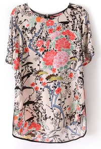 Beige Short Sleeve Floral Print Zip Back Blouse