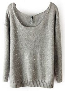 Grey Long Sleeve Sequined Loose Pullovers Sweater