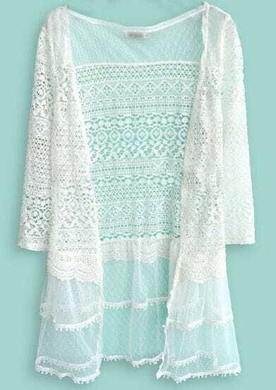 Beige Long Sleeve Hollow Embroidery Lace Cardigan