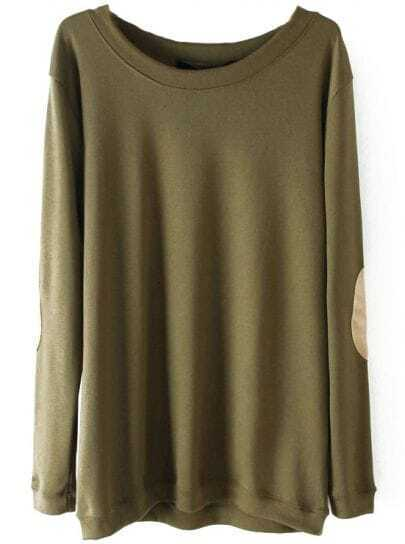 Army Green Long Sleeve Elbow Patch Pullover Sweater