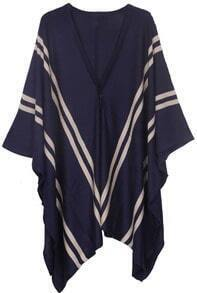 Navy V-neck Striped Irregular Hem Knitted Cape