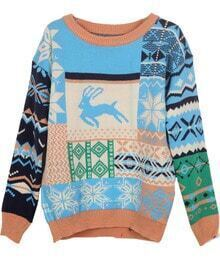 Blue Deer Snowflake Fair Isle Pattern Sweater