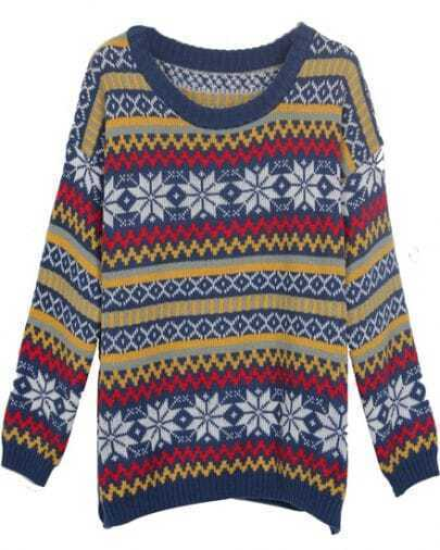 Blue Vintage Snowflake Striped Knitted Jumper Sweater