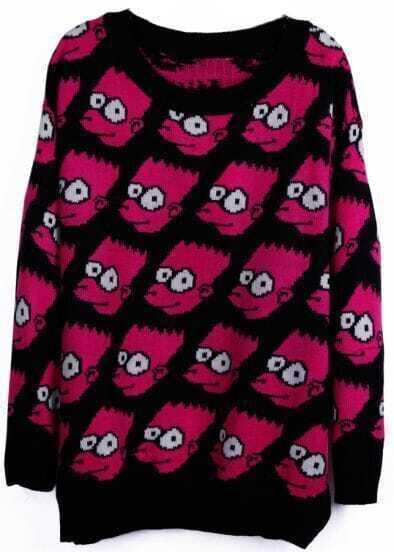 Rose Red Long Sleeve Simpson Cartoon Pattern Loose Sweater