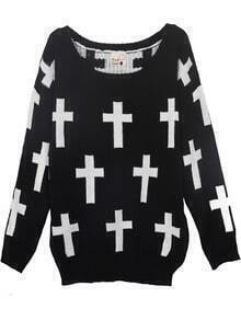 Black Round Neck and White Cross Pattern Jumper Sweater