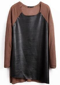 Coffee Long Sleeve Contrast PU Leather T-Shirt