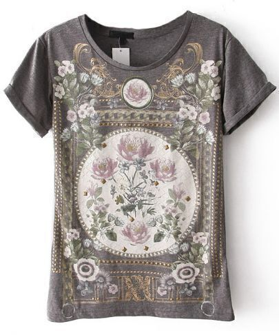 Grey Short Sleeve Floral Cotton T-Shirt
