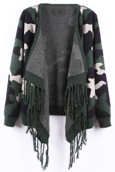 Green Camouflage Pattern Fringe Hem Open Cardigan