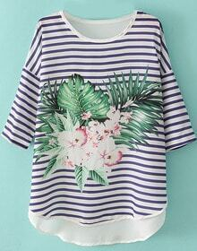Blue White Striped Half Sleeve Floral Dipped Hem T-Shirt