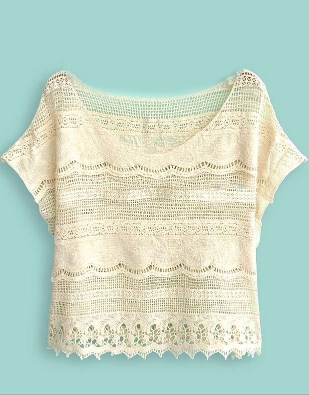 Crochet Batwing Top Free Pattern : Beige Batwing Sleeve Crochet Lace Crop Top -SheIn(Sheinside)
