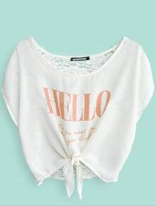 Peach HELLO Print White Batwing Bow-tie Front Crop Top
