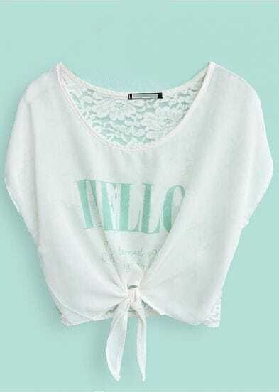 Green HELLO Print White Batwing Bow-tie Front Crop Top