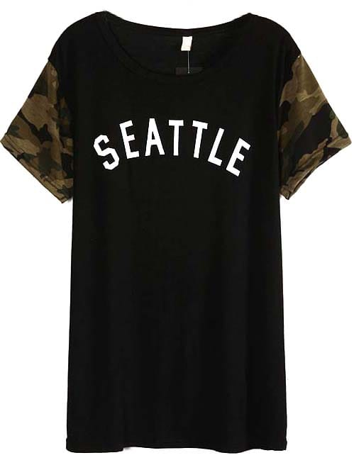 Black camouflage short sleeve seattle print t shirt shein for Seattle t shirt printing