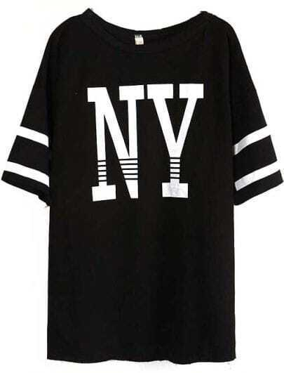 Black Batwing Sleeve NY Print Loose T-Shirt