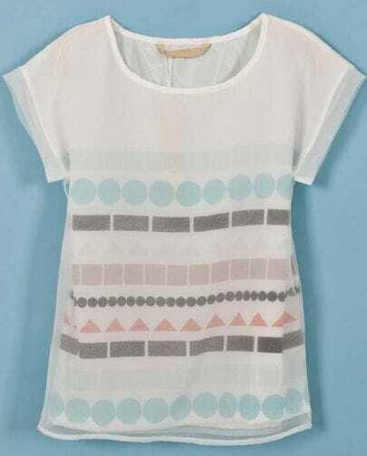 white short sleeve geometric print mesh yoke t