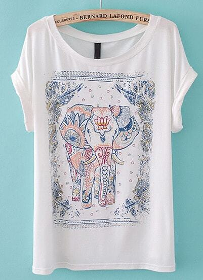 White Short Sleeve Cartoon Elephant Print T-Shirt