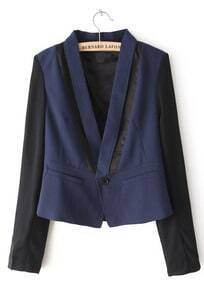Navy Contrast Chiffon Long Sleeve Crop Blazer