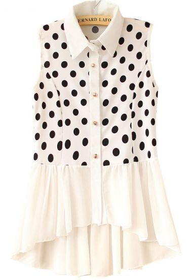 White Sleeveless Polka Dot Pleated Dipped Hem Blouse