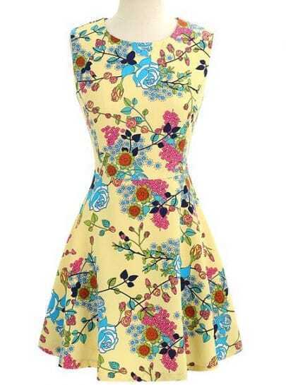 Yellow Sleeveless Floral Ruffles Sundress