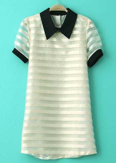Beige Contrast Collar Striped Short Sleeve Organza Dress