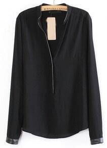 Black Long Sleeve Contrast PU Trims Chiffon Blouse