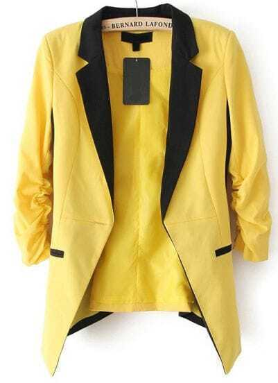 Yellow Contrast Notch Lapel Long Sleeve Blazer