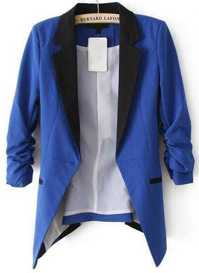 Blue Contrast Notch Lapel Long Sleeve Blazer