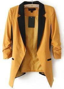 Dark Yellow Contrast Notch Lapel Long Sleeve Blazer