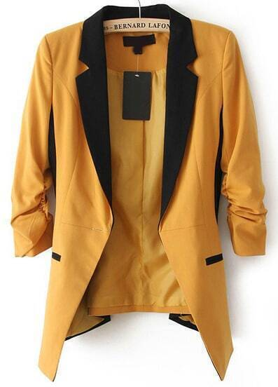 Dark Yellow Contrast Notch Lapel Long Sleeve Blazer