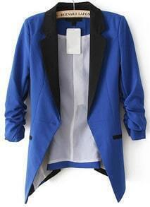 Blue Contrast Notch Lapel Long Sleeve Blazer