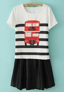 White Short Sleeve Bus Print Striped Top With Skirt