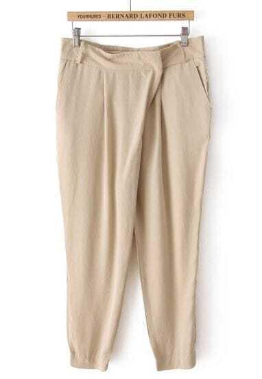 Khaki Fashion Pockets Loose Crop Pant