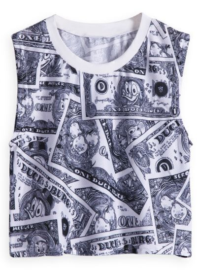 White Sleeveless Money Print Crop T-Shirt