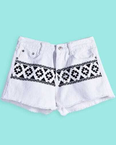 White Ripped Geometric Print Denim Shorts