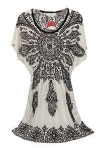 White Black Batwing Floral Waist Dress