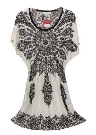 White Black Batwing Floral Waist Dress
