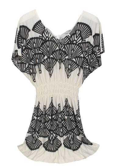 Beige Batwing Sleeve Peacock Tail Print Waist Dress