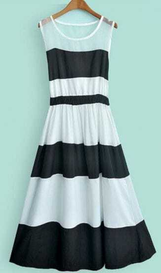Beige Black Striped Sleeveless Pleated A Line Dress