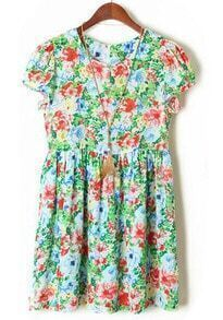 Pink Blue Puff Sleeve Floral Pleated Dress
