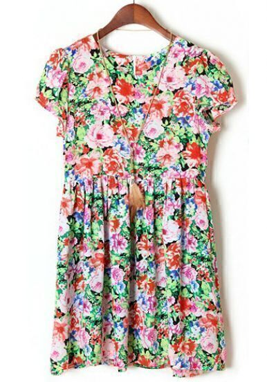 Pink Red Puff Sleeve Floral Pleated Dress