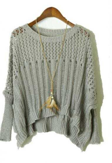 Grey Long Sleeve Hollow Ripped Batwing Sweater