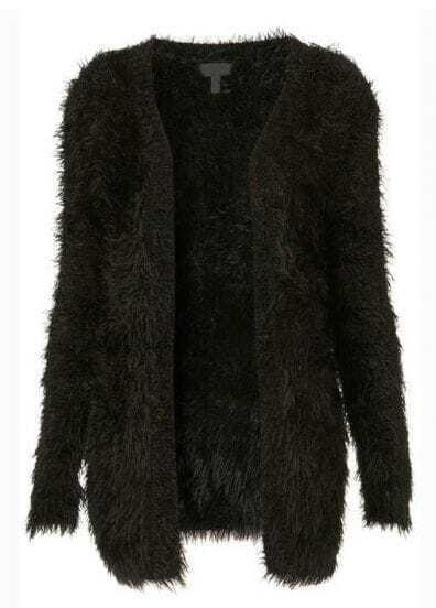 Black Long Sleeve Shaggy Cardigan Sweater