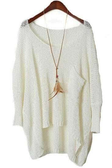 White Long Sleeve Pocket Loose Batwing Sweater