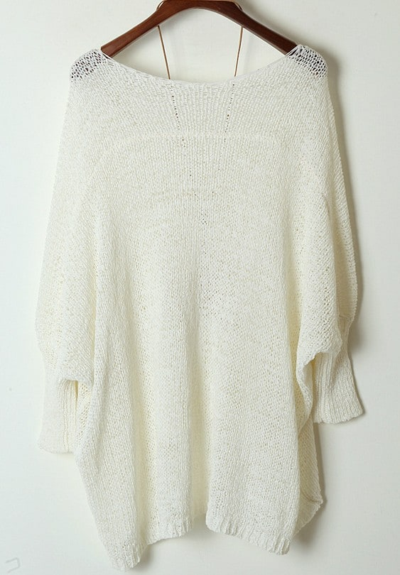 White Long Sleeve Pocket Loose Batwing Sweater -SheIn(Sheinside)
