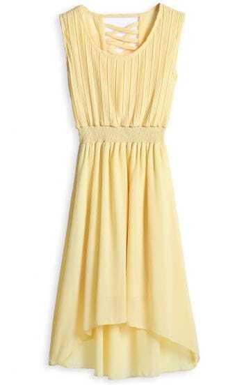 Yellow Sleeveless Criss Cross Back High-Low Chiffon Dress