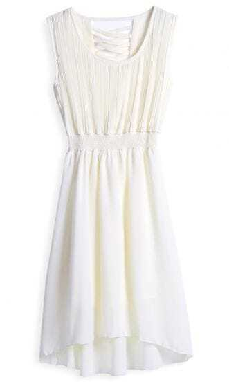 Beige Sleeveless Criss Cross Back High-Low Chiffon Dress