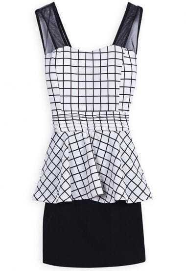 Black White Plaid Sleeveless Ruffles Dress