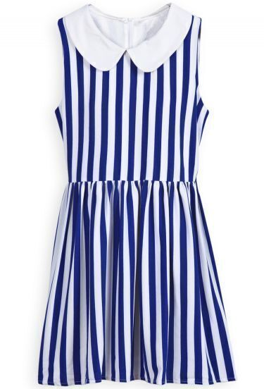 Blue White Vertical Stripe Lapel Zipper Dress